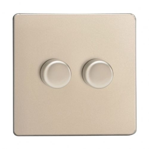 Varilight JDNP252S Screwless Satin Chrome 2 Gang 2-Way Push-On/Off LED Dimmer 0-120W V-Pro